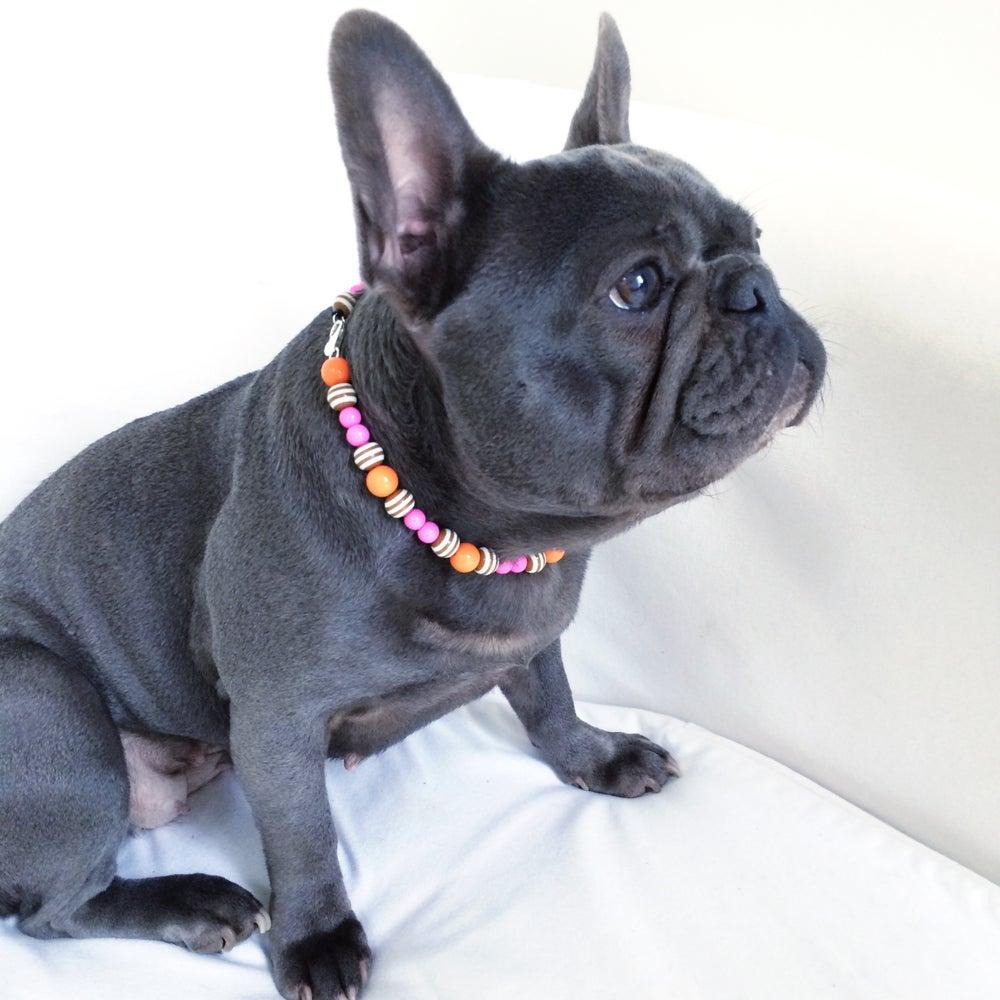 Image of Isabella ~ Coffee Striped, Orange & Pink Beaded Dog-Necklace