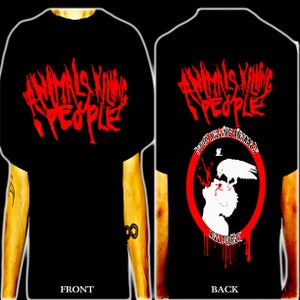 Image of Animals Killing People - Black Shirt- Red Logo in front, AKP symbol & logo on back. All sizes!