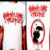 Image of Animals Killing People - White Shirt - Red Logo in front, AKP symbol & logo on back. All sizes!