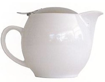 Image of Ceramic White Tea Pot with Basket Infuser 500ml