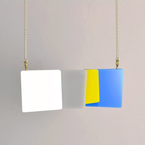 Image of Abstract Geometric Squares - Perspex Necklace