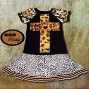 Image of **SOLD OUT** Leopard Cross Twirl Dress - size 7/8