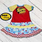 Image of **SOLD OUT** Jesus is my SuperHero Double Ruffle Dress - size 5/6