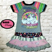 Image of **SOLD OUT** Happier than a Unicorn Eating Cupcakes on a Rainbow Double Ruffle Dress  - size 7/8