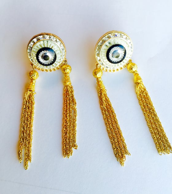 Image of TWO TASSLE CLIP ON EARRINGS