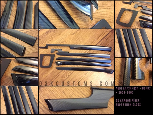 Image of Audi b6/b7 A4/S4/RS4 2002-2007 5D High Gloss Carbon Fiber Trim Kit