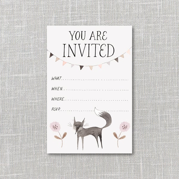 Image of Little Black Fox Party Invitation Instant Download PDF