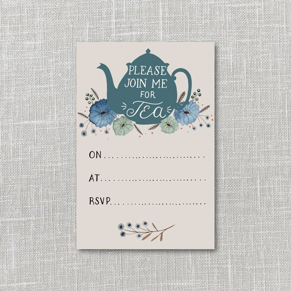 Image of Tea Party Invitation Printable Instant Download PDF