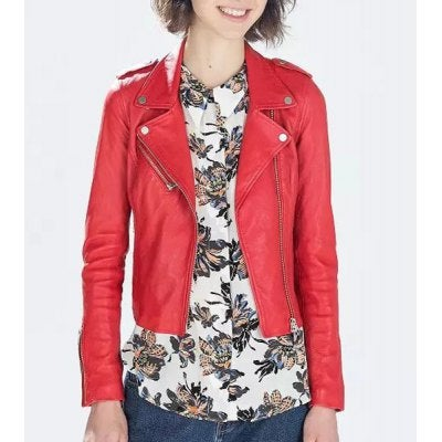 Image of Simple Style Red Faux Leather Zippered Jacket For Women  - RED