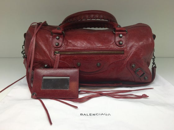 Image of Balenciaga Cranberry Twiggy Motocross Satchel