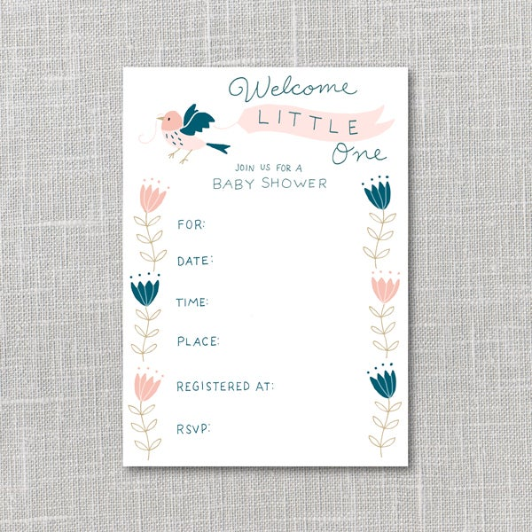 Image of Baby Shower Invitation Pink & Navy Printable Instant Download PDF