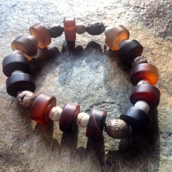 Image of Tribal Banded Agate, Howlite, Ugandan Silver Bead