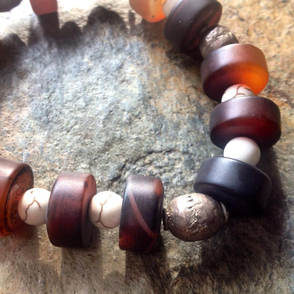 Image of Tribal Banded Agate, Howlite, Ugandan Silver Bead