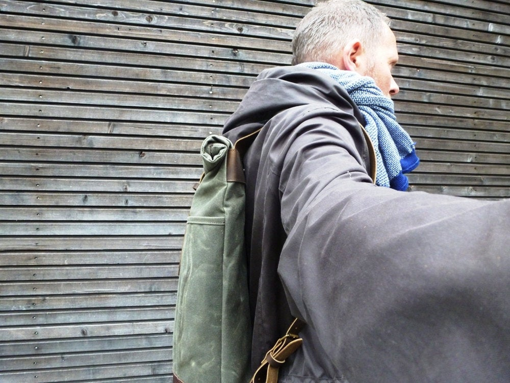 Image of Waxed canvas rucksack / backpack with roll up top and leather shoulder straps and bottom