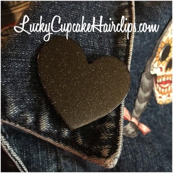 Image of Little black heart pin