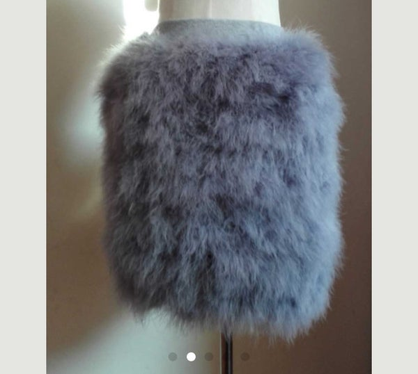 Image of Gray fur skirt