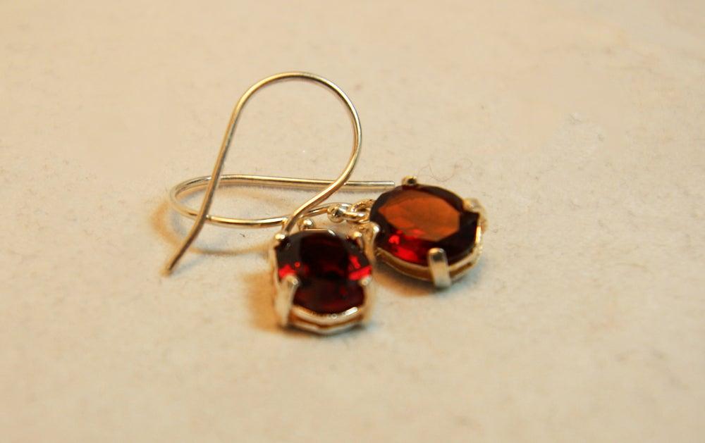 Image of Small Drop Garnet Earrings