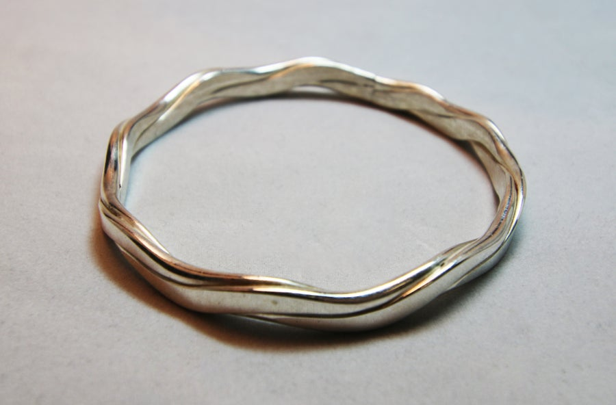 Image of Heavy Sterling Silver Wave Bangle