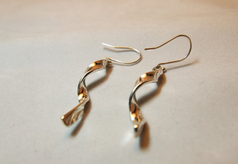Image of Sterling Silver Embossed Twist Earrings