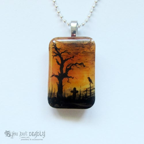 Image of Spooky Tree Autumnal Resin Pendant