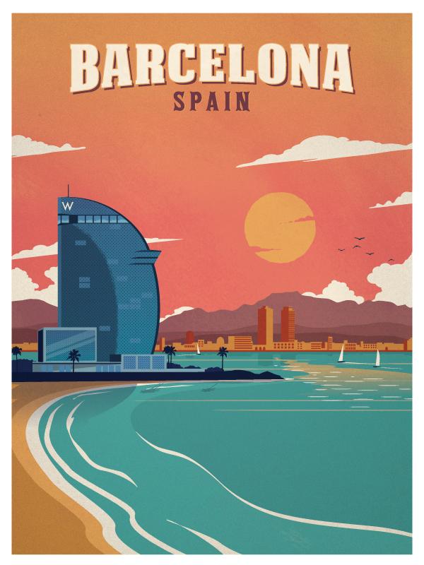 Ideastorm studio store vintage barcelona beach poster - Mobles vintage barcelona ...