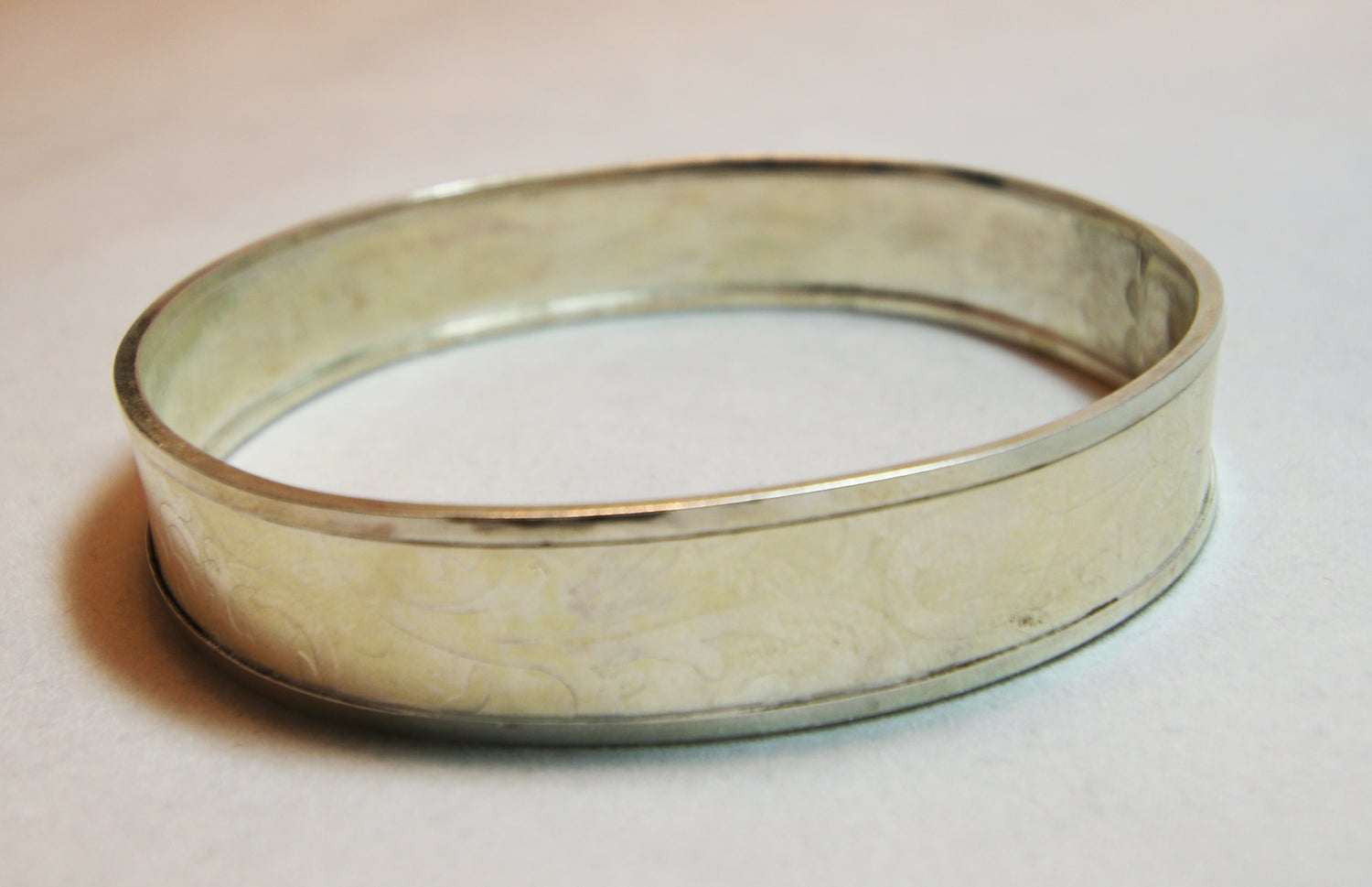 Image of Sterling Silver Oval Embossed Bangle