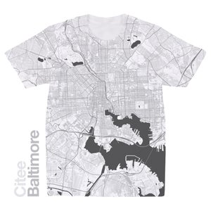 Image of Baltimore MD map t-shirt
