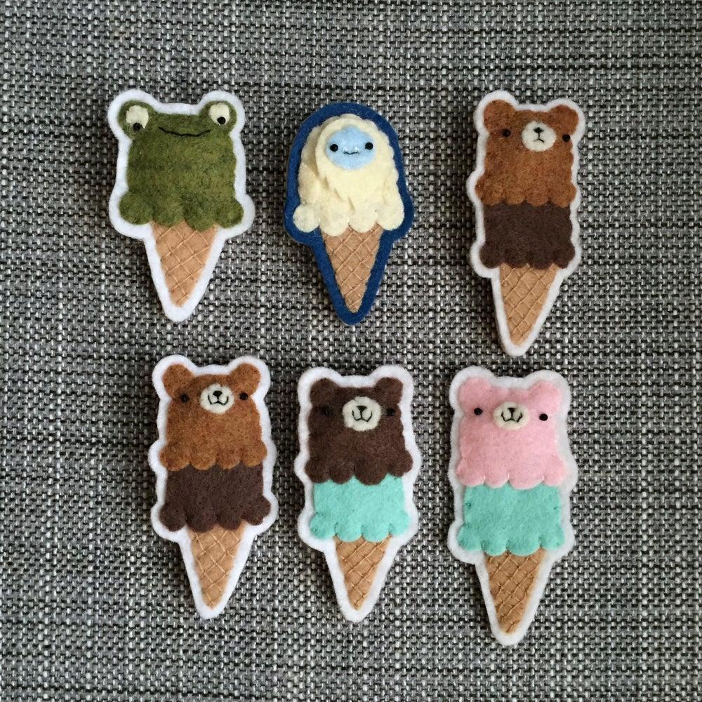 Image of bear/yeti/frog cones (ready-to-ship)