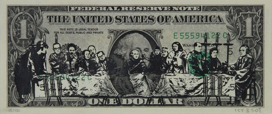 "Image of ""THE LAST SUPER"" - ICY & SOT - SCREEN PRINT & SPRAY PAINT ON GENUINE $1 BILL"
