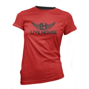 Image of Female Classic Wings Tee (Black On Red)