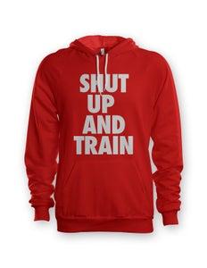 Image of Womens Shut Up and Train Red/White Hoodie