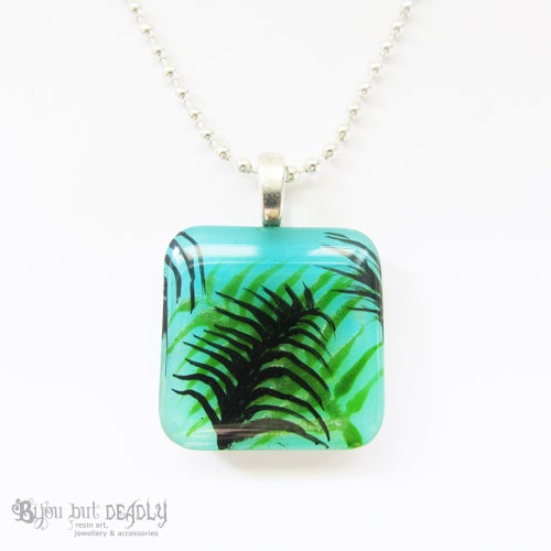 Image of Tropical Palm Blue/Green Resin Pendant