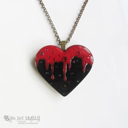Image of Bleeding Black Heart Resin Pendant