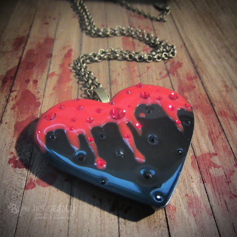 Image of Bleeding Black Heart Resin Pendant