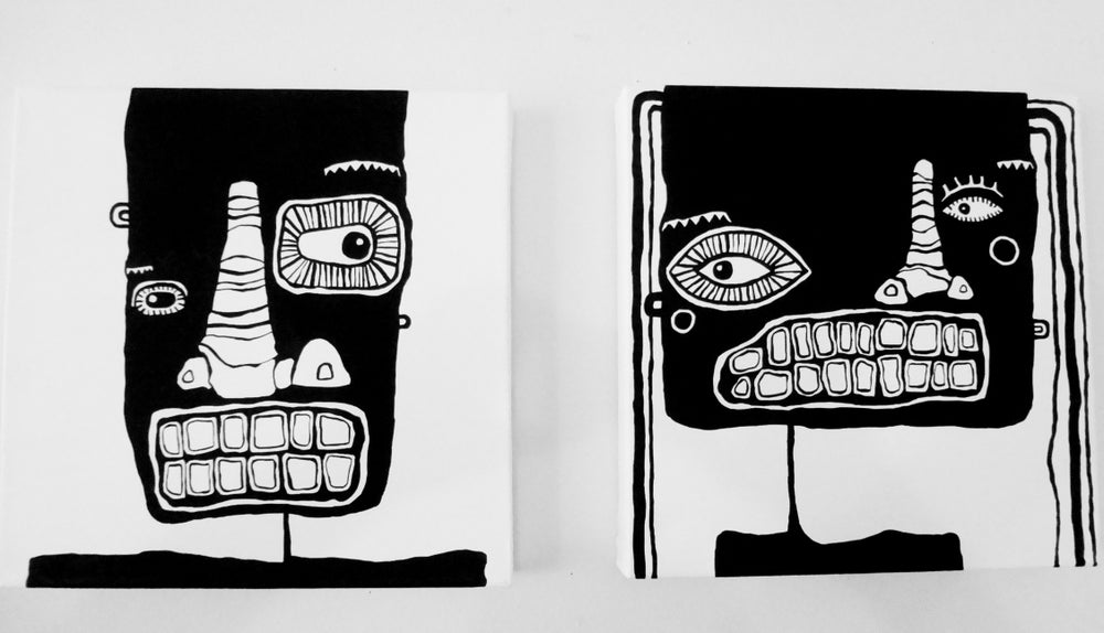 "Image of 2 FACE PAiNtiNGS - 12 "" X 12"""