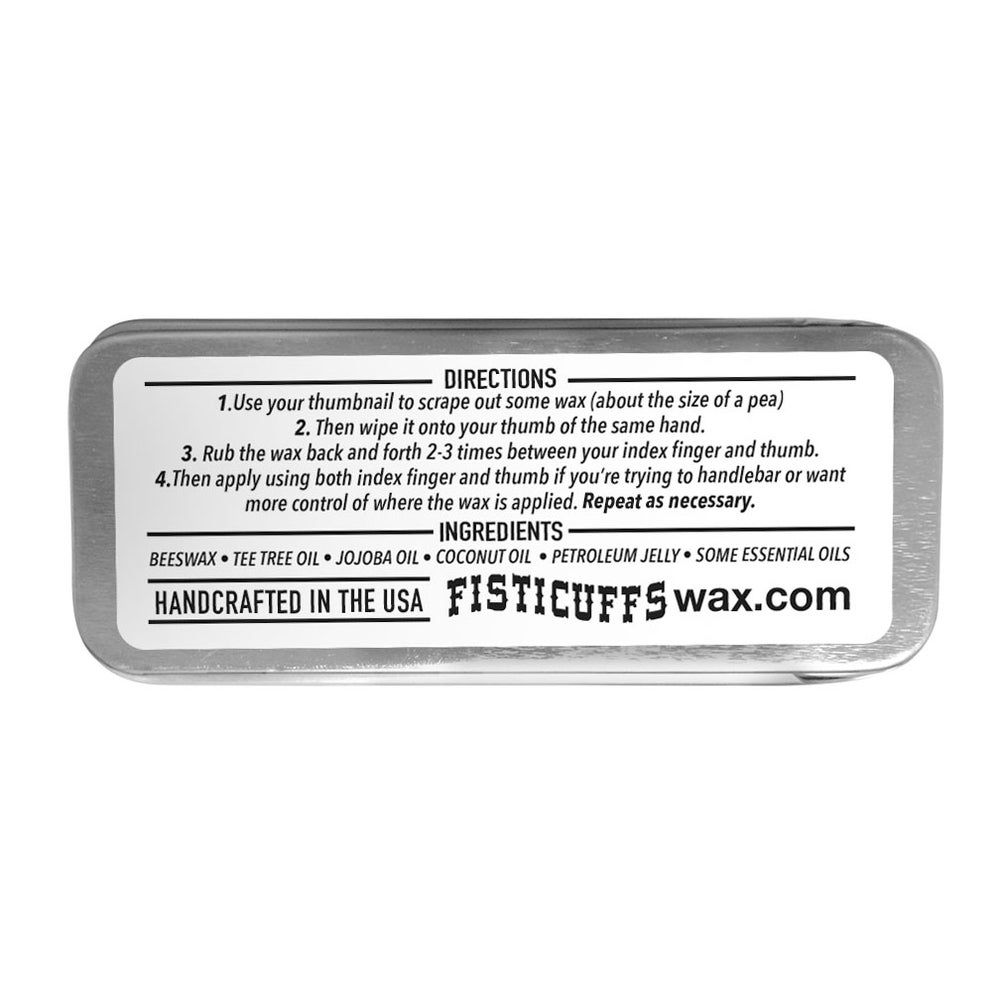 Image of 15g slide top tin of Fisticuffs Mustache Wax