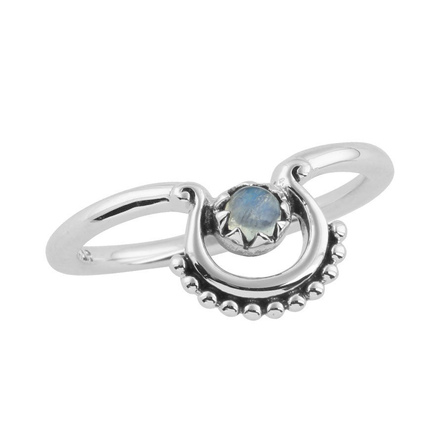 Image of Sterling Silver & Rainbow Moonstone Beaded Curve Ring