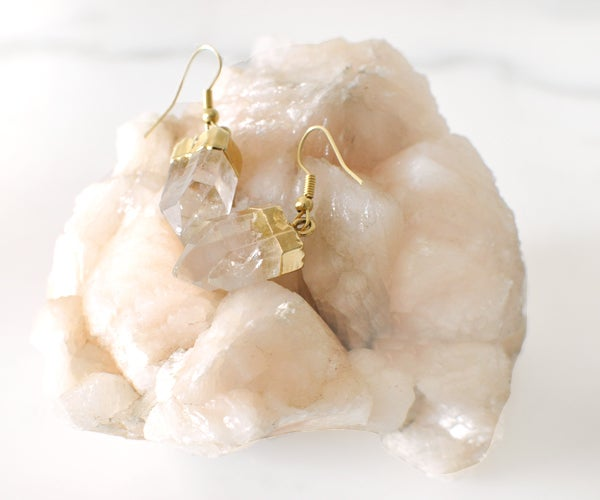 Image of Luxe Gold Plated Quartz Point Crystal Earrings