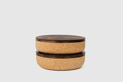 Image of Large Cork + Walnut Canisters