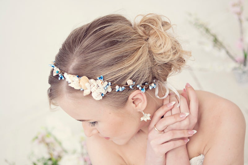 Image of Beach weddign flower crown with seashells