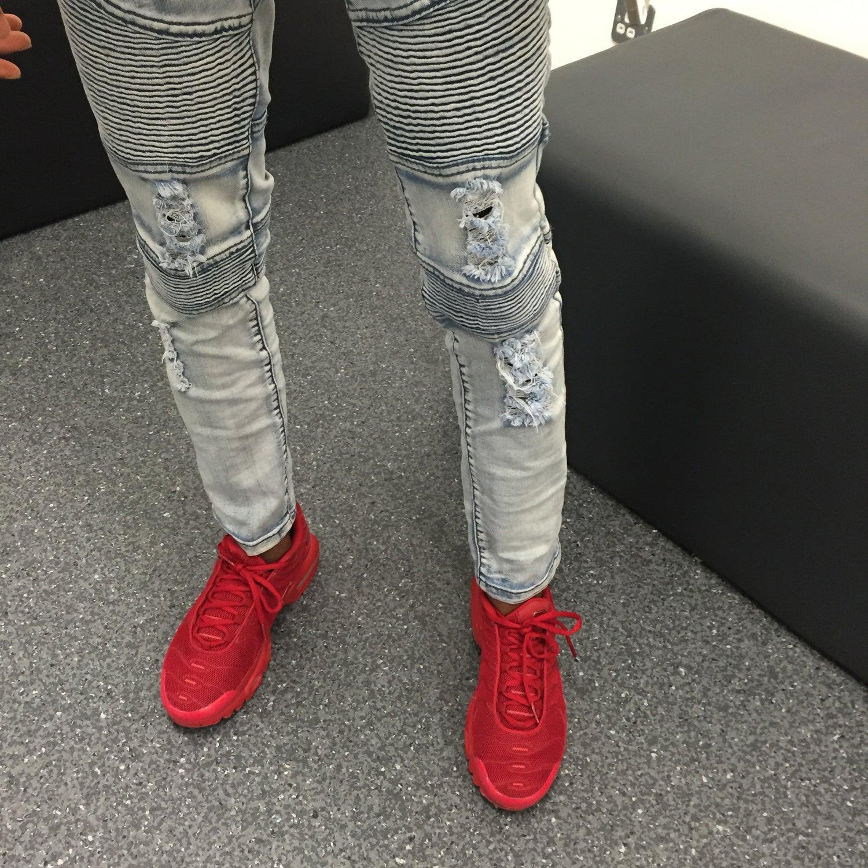 Image of Distressed Biker Jeans