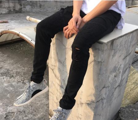Image of Black Distressed Biker Jeans