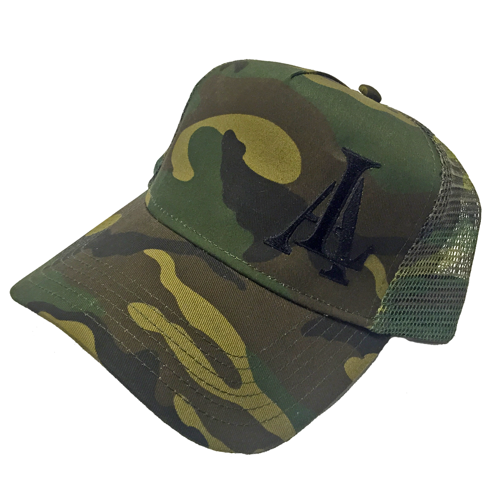 Image of Legendary American LA logo trucker hat - camo