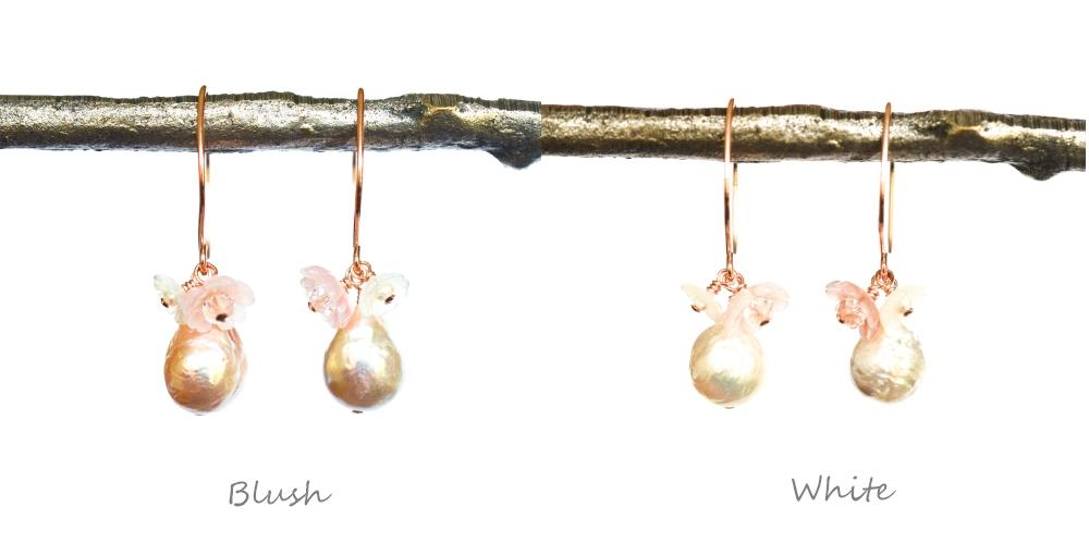 Image of Freshwater baroque cultured pearl flower earrings