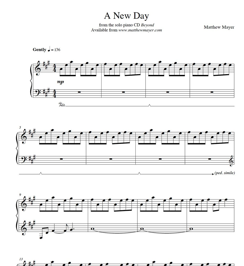Image of NEW - A New Day Sheet Music