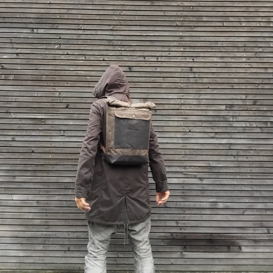 Image of Waxed canvas waterproof backpack with roll up top and double waxed bottem COLLECTION UNISEX