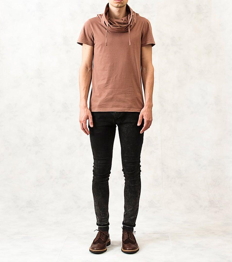 Image of Drawstring Polo-Neck Cotton T-Shirt