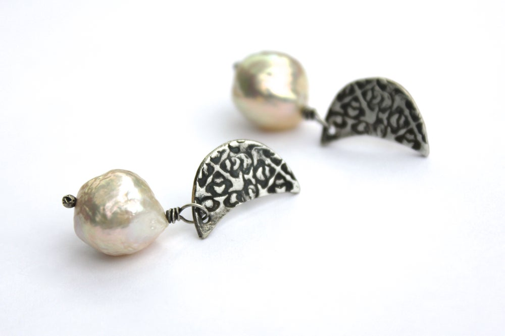 Image of crescent moon and pearl post earrings by peacesofindigo . E18-p