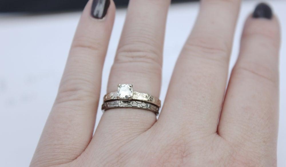 Image of thin 14k white gold wedding band . tudor rose . R2