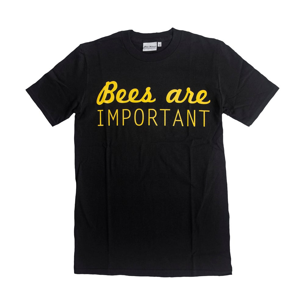 "Image of ""Bees are important"" T-shirt: yellow on black"